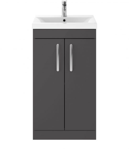 Athens 500mm Floor Standing – Two Door Unit – Dark Grey Gloss