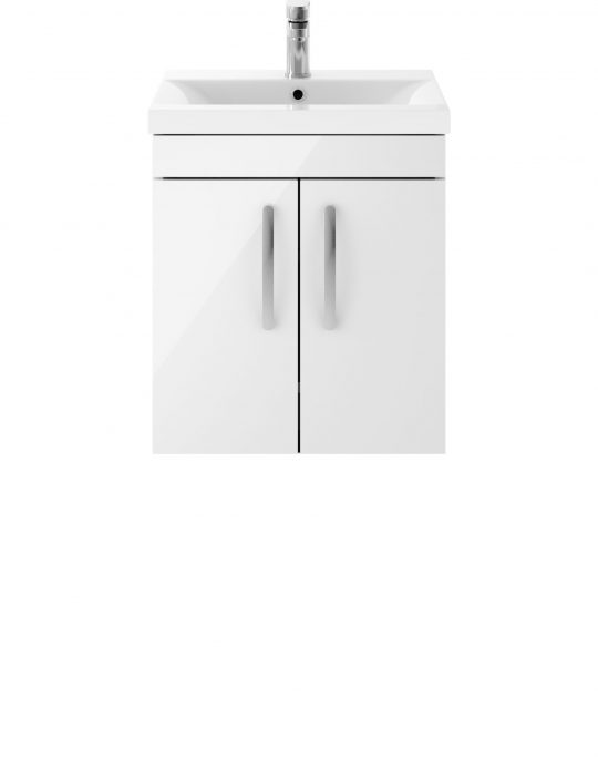 Athens 500mm Wall Hung – Two Door Unit – White