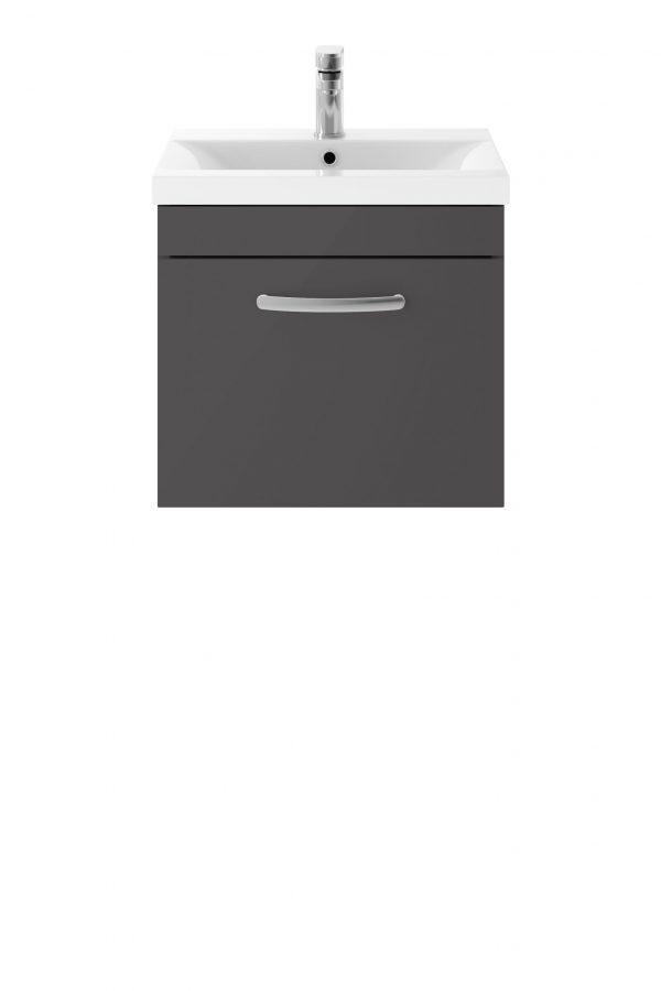 Athens 500mm Wall Hung – Single Drawer Unit – Dark Grey Gloss