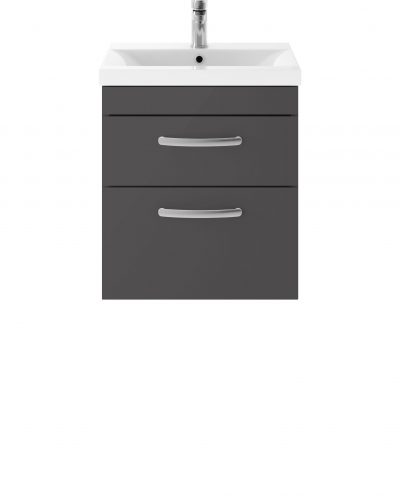 Athens 500mm Wall Hung – Twin Drawer Unit – Dark Grey Gloss
