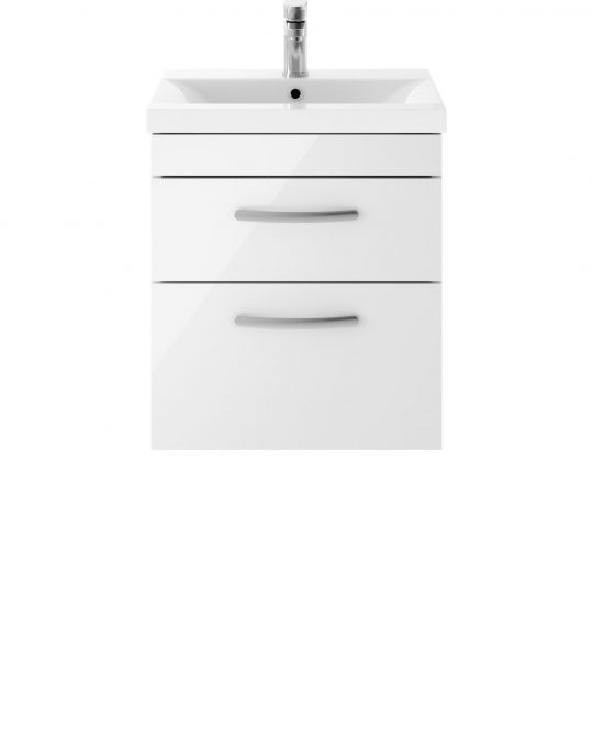 Athens 500mm Wall Hung – Twin Drawer Unit – White