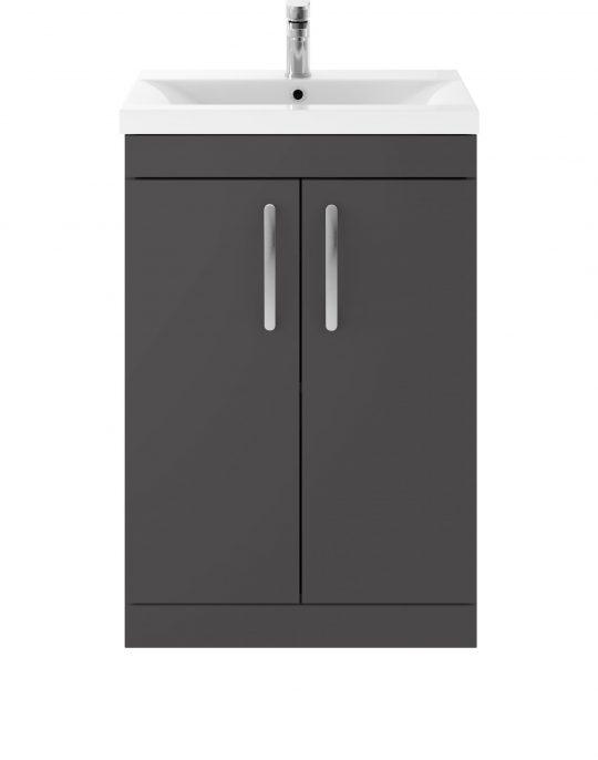 Athens 600mm Floor Standing – Two Door Unit – Dark Grey Gloss