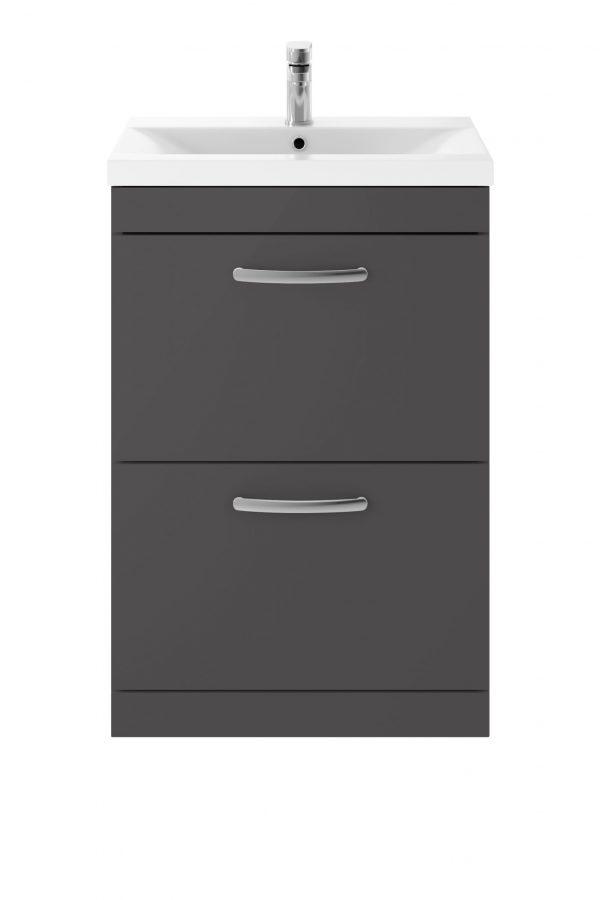 Athens 600mm Floor Standing – Twin Drawer – Dark Grey Gloss