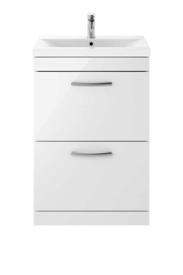 Athens 600mm Floor Standing – Twin Drawer – White (Unit Only)