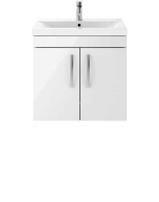 Athens 600mm Wall Hung – Two Door Unit – White