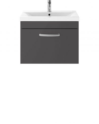 Athens 600mm Wall Hung – Single Drawer Unit – Dark Grey Gloss