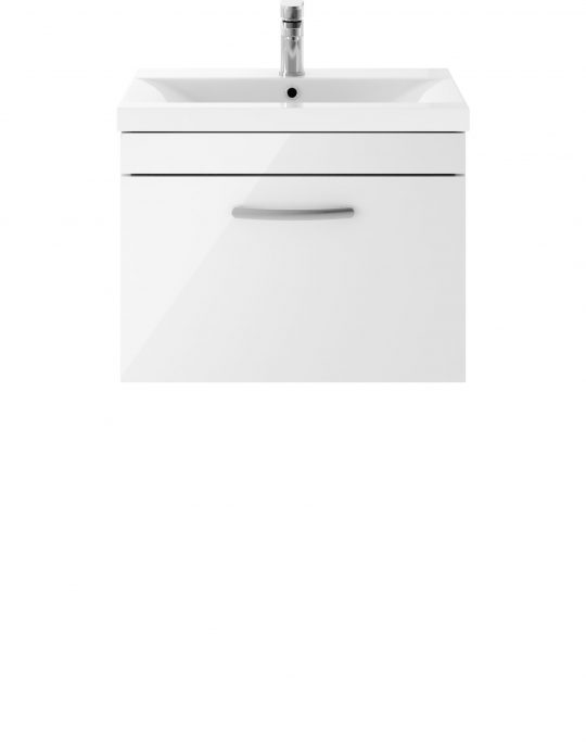 Athens 600mm Wall Hung – Single Drawer Unit – White