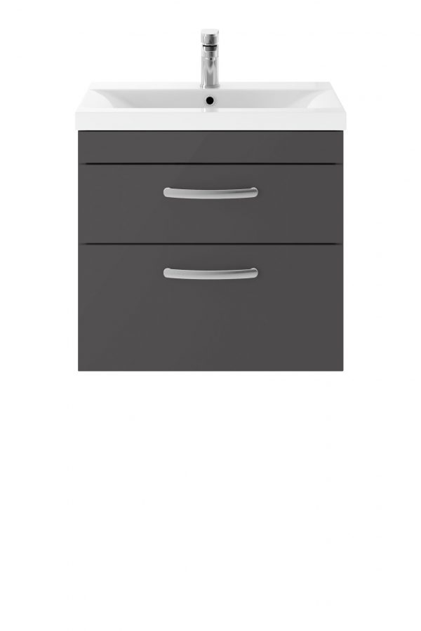Athens 600mm Wall Hung – Twin Drawer Unit – Dark Grey Gloss