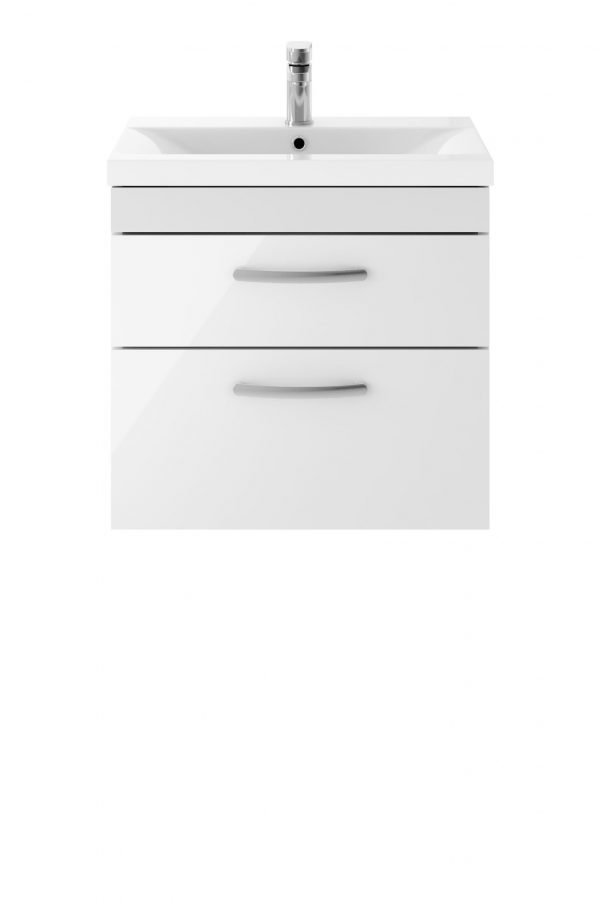 Athens 600mm Wall Hung – Twin Drawer Unit – White