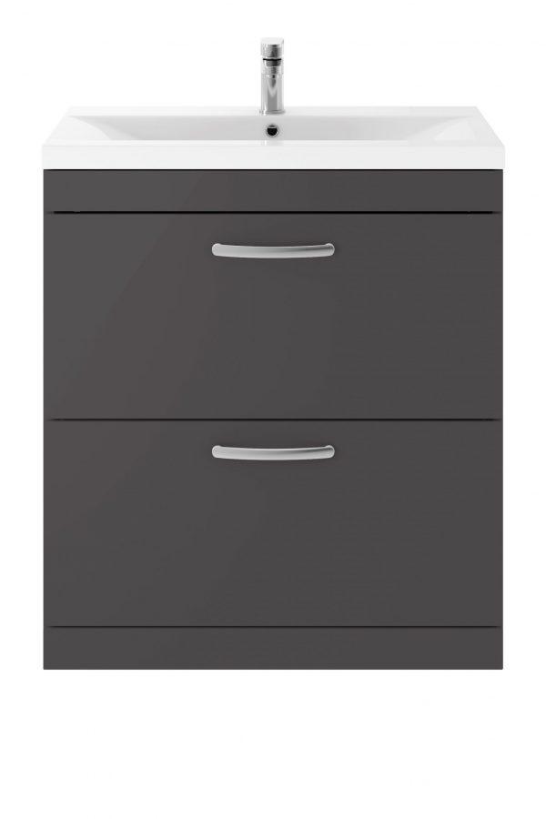 Athens 800mm Floor Standing – Twin Drawer – Dark Grey Gloss