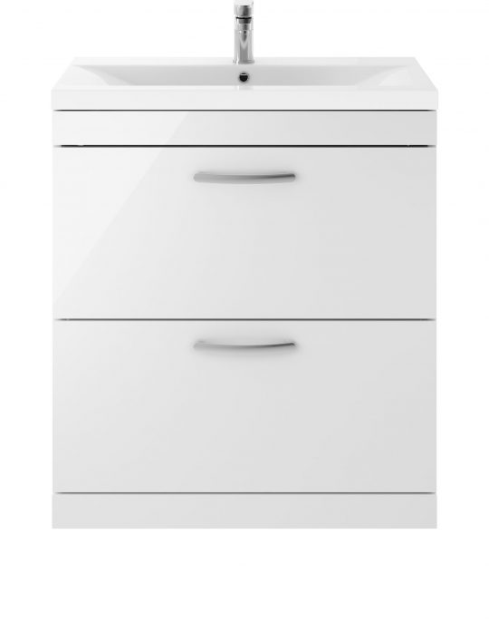 Athens 800mm Floor Standing – Twin Drawer – White (Unit Only)