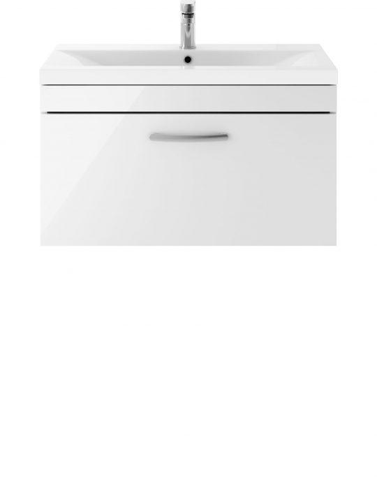 Athens 800mm Wall Hung – Single Drawer Unit – White