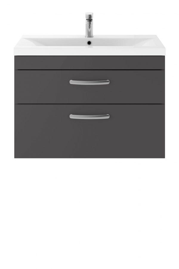 Athens 800mm Wall Hung – Twin Drawer Unit – Dark Grey Gloss