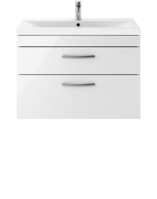 Athens 800mm Wall Hung – Twin Drawer Unit – White