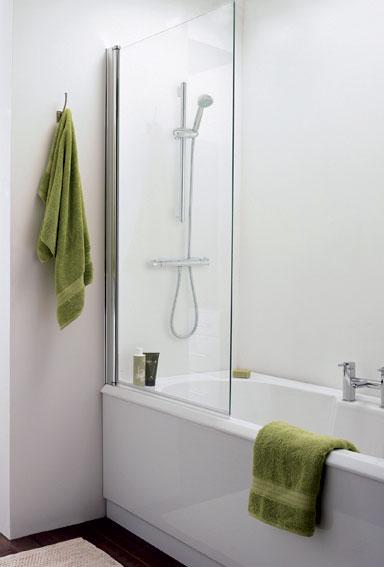 Straight Square Bath Screen – Silver