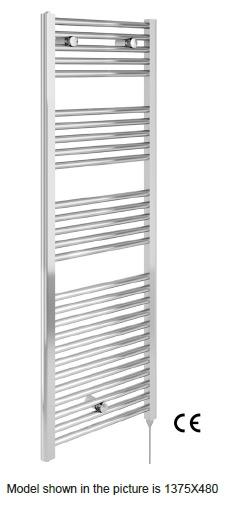 1375×480 Electric Heated Towel Rail – Chrome