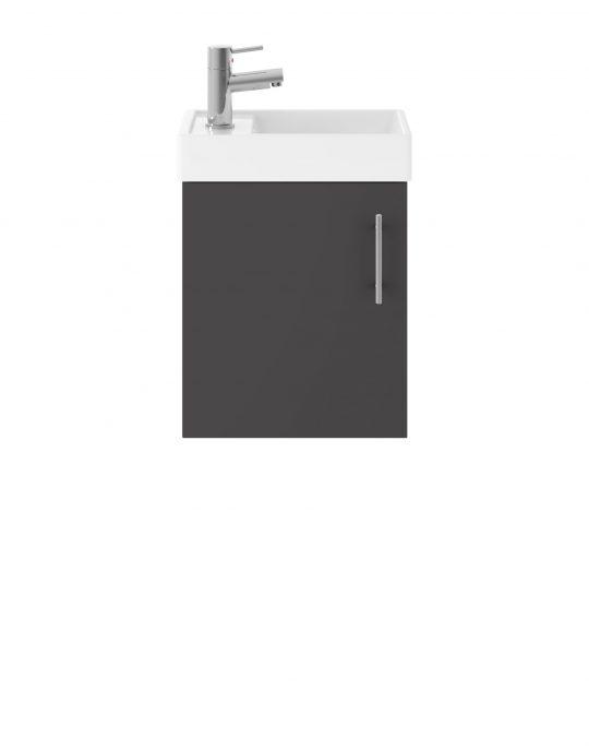 520mm Wall Hung Basin & Cabinet – Gloss Grey