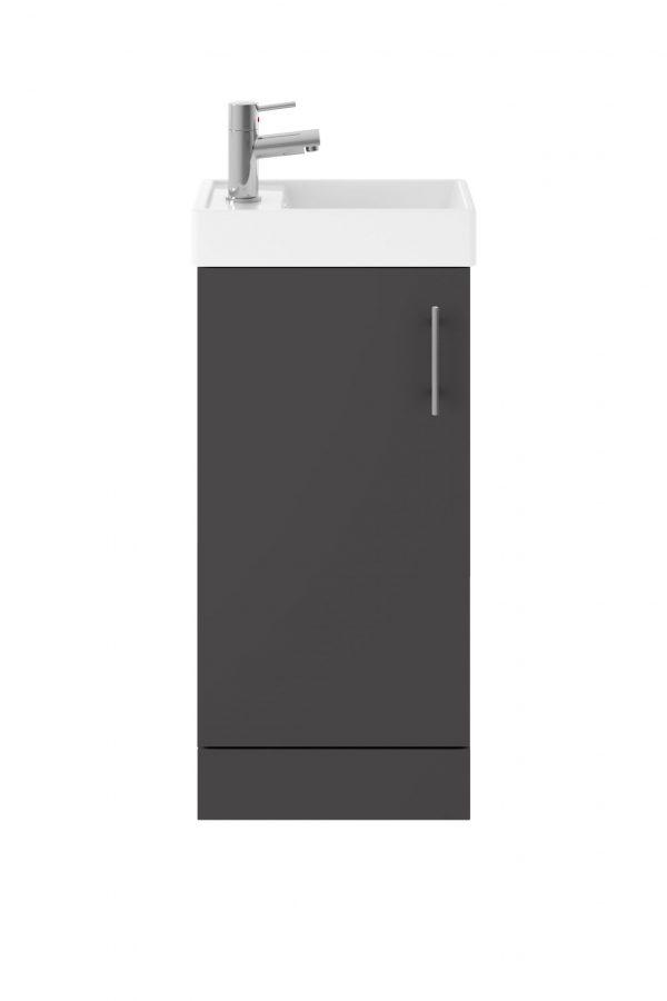 861mm Floor Standing Basin & Cabinet – Gloss Grey