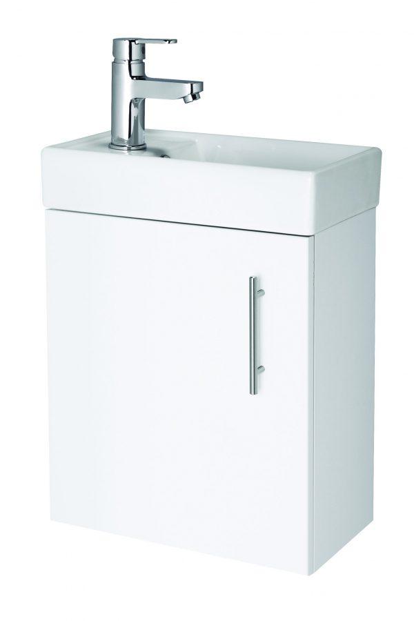 520mm Wall Hung Basin & Cabinet – Gloss White
