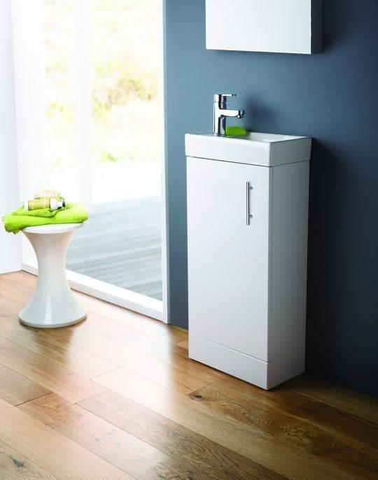 861mm Floor Standing Basin & Cabinet – Gloss White